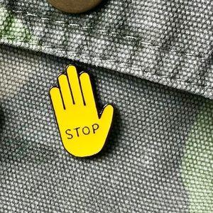 Kawaii Enamel Pin Brooch Stop Hand Fun